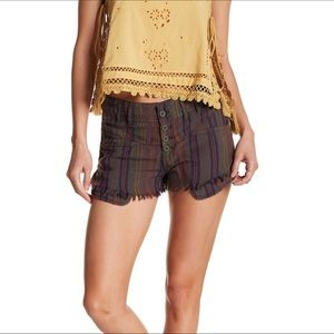 Free People Morning Rain Striped Frayed Shorts NWT